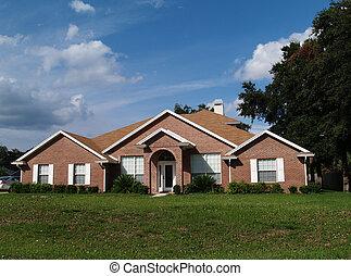 um, história, tijolo, residencial, lar