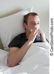 um, homem, com, a, gripe