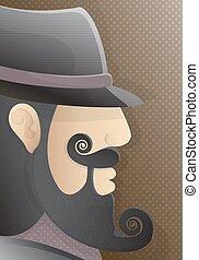 um, homem, com, um, cacheados, barba, e, pretas