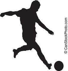 um, homem, futebol jogando