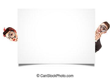 um, homem mulher, olhar, branca, painel, isolado, branco