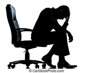 um, homem negócio, cansadas, triste, desespero, silueta