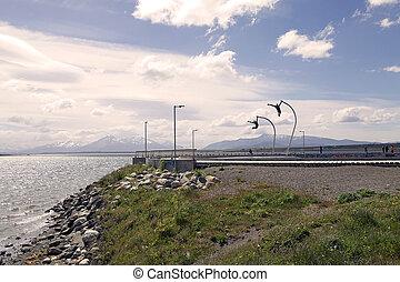 um, homenagem, para, a, vento, em, puerto natales, em, patagonia, chile