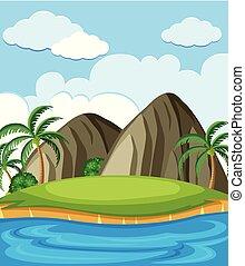 um, ilha, cheio, de, recursos naturais