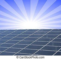 um, ilustração, de, um, painel solar, contra, azul,...