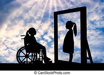 um, incapacitado, menina, e, dela, saudável, reflexão, em, a, espelho
