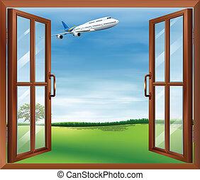 um, janela aberta, com, um, vista, de, a, avião