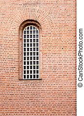 um, janela, e, um, textura, de, um, parede, com, vermelho, tijolos