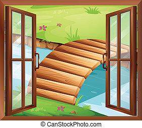um, janela, negligenciar, a, rio, com, um, ponte