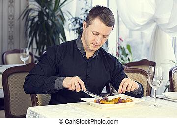 um, janta, homem jovem