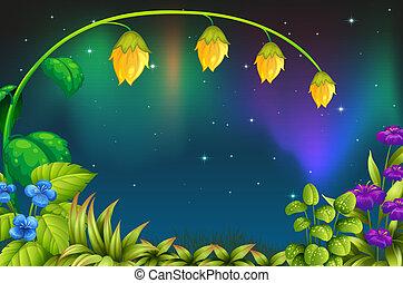 um, jardim, com, verde, plantas, e, flores frescas