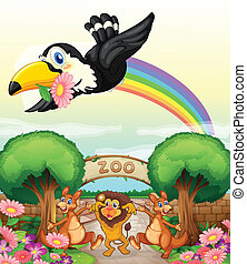 um, jardim zoológico, e, a, animais