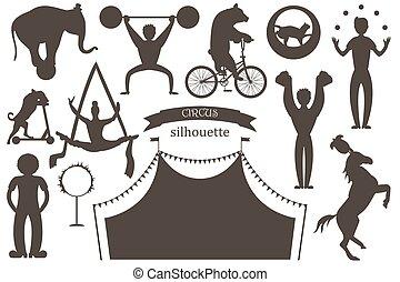 um, jogo, de, apartamento, vetorial, silhuetas, de, circo, artists., palhaços, acrobatas, e, treinado, animals.
