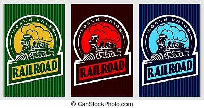 um, jogo, de, coloridos, retro, cartazes, com, um, vindima, locomotiva