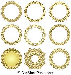 um, jogo, de, dourado, decorativo, círculo, bordas, em, deco arte, estilo