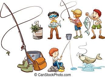 um, jogo, de, pessoas, pesca
