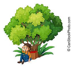 um, jovem, agricultor, sob, a, árvore