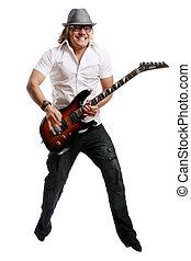 um, jovem, atraente, homem, com, guitarra