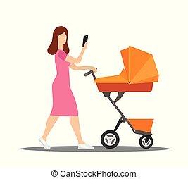 um, jovem, mãe, passeios, com, um, carrinho criança, com, um, telefone, em, dela, mão