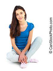 um, jovem, menina bonita, sentar chão