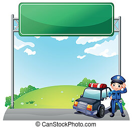 um, jovem, policial, com, seu, carro polícia, perto, um, vazio, signage