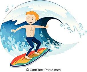 um, jovem, surfista, surfando, um, onda grande