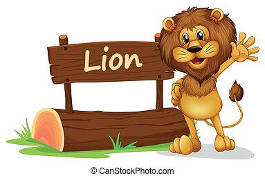 um, leão, ficar, ao lado, um, madeira, signage
