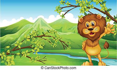 um, leão, frente, a, rio, e, a, montanhas altas