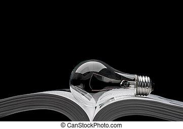 um, light-bulb, ligado, um, livro, mostrando, idéias, de,...