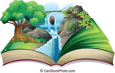 um, livro, com, um, imagem, de, um, floresta