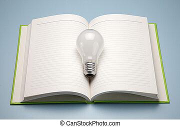 um, livro, e, lâmpada