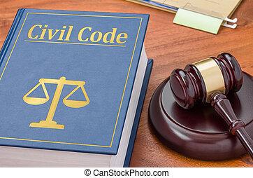 um, livro lei, com, um, gavel, -, civil, código