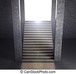 um, longo, concreto, escadaria, guiando, para, a, light., 3d, render., a, conceito, de, freedom.