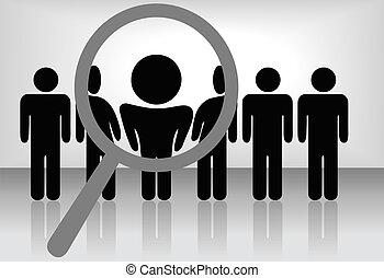 um, lupa, achados, selects, ou, inspeciona, um, pessoa, uma linha, de, people:, busca, &, escolher, para, emprego, reconhecimento, promoção, contratar, etc