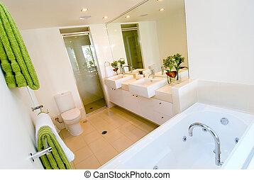 um, luxo, modernos, banheiro
