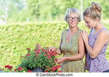 um, mãe filha, preocupando, flores