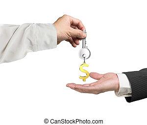 um, mão, dar, tecla, sinal dólar, keyring, para, outro, mão, 3d, fazendo
