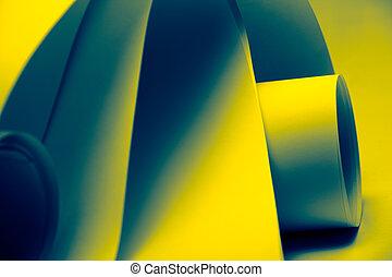 um, macro, abstratos, fundo, quadro, de, folhas papel, ondulado, torcido, curvado, formas, em, azul, e, amarela, sombras, de, cor