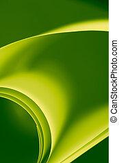 um, macro, abstratos, fundo, quadro, de, folhas papel, ondulado, torcido, curvado, formas, em, verde, e, amarela, sombras, de, cor