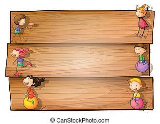 um, madeira, signage, com, crianças, tocando