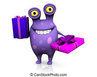 um, manchado, monstro, segurando, dois, aniversário, gifts.