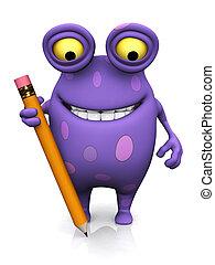 um, manchado, monstro, segurando, um, grande, pencil.