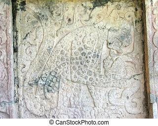 um, maya, templo, escultura pedra, chichen itza, méxico