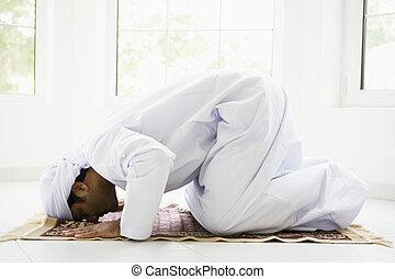 um, meio oriental, homem, orando