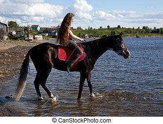 um, menina, com, cabelo corrente, ligado, um, cavalo preto