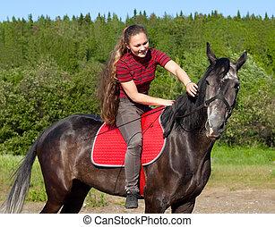 um, menina, com, dela, cabelo, afagar, cavalo