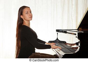 um, menina, com, dela, cabelo, jogando piano
