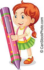 um, menina, com, lápis