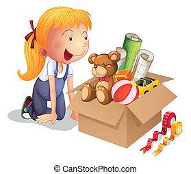 um, menina, com, um, caixa, de, brinquedos