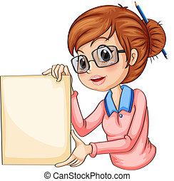 um, menina, com, um, lápis, ligado, dela, cabelo, segurando,...